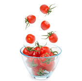 Bowl of cherry tomatoes isolated — Stok fotoğraf