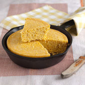 Corn Bread in a cast iron skillet — Stock Photo