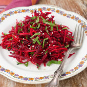Salad of fresh beets and carrots with parsley — Stock Photo