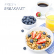 Постер, плакат: Breakfast with homemade granola and fresh berries orange juice