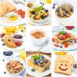 Breakfast collage of nine photos - Stock Photo