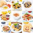 Breakfast collage of nine photos — Stock Photo