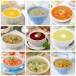 Collage of nine different colorful soups - Stock Photo