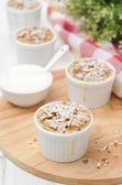 Apple pie with nuts in a white ramekin — Stock Photo