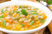 Vegetable minestrone with white beans and toast horizontal — Stock Photo