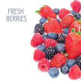 Assorted of fresh berries isolated on a white background — Foto de Stock