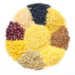 Assorted cereals and legumes in form of a circle isolated — Stock Photo