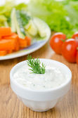 Yoghurt sauce with herbs to assorted fresh vegetables — Stock Photo