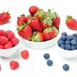 Fresh berries - strawberries, raspberries and blueberries — Foto de Stock
