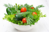 Bowl with fresh vegetables and herbs for salad on a white — Stock Photo