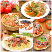 Collage of different Italian dishes — Stock Photo