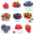 Collage of nine pictures with fresh berries — Stock Photo #26559699