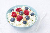 Bowl of cottage cheese with berries, honey, nuts for breakfast — Stock Photo