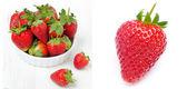 Collage con fragole fresche — Foto Stock