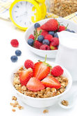 Granola with fresh berries and milk for breakfast — Stok fotoğraf