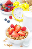Granola with fresh berries and milk for breakfast — Stock Photo