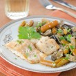 Cod in beer marinade with vegetables — Stock Photo