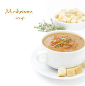 Mushroom cream soup with croutons and thyme isolated on white — Stock Photo