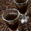Two shot glasses of coffee liqueur, selective focus — Stock Photo