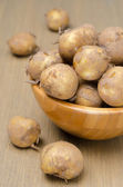 Close-up of new potatoes in a bowl — Stock Photo