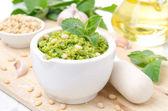 Pesto with green peas and mint, horizontal — Stock Photo