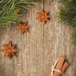 Christmas frame (fir branches, stars, star anise and cinnamon) — Stock Photo #28121939