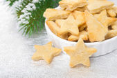 Bowl with Christmas cookies in the shape of a star — Stock Photo
