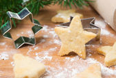 Christmas cookies in the shape of stars and baking dish — Stock Photo