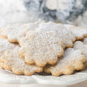 Christmas gingerbread cookies, sprinkled with powdered sugar — Stock Photo