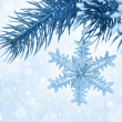 Branch with Christmas decoration on blue background with bokeh — Zdjęcie stockowe
