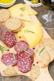 Salami, cheese, crackers, olives and a glass of wine — Stock Photo