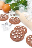 Christmas chocolate chip cookies and ingredients for baking — Stock Photo