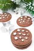 Christmas chocolate cookies, baking dish on white background — Stock Photo