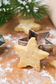 Christmas shortbread cookies in the shape of stars — Foto Stock