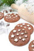 Christmas chocolate cookies on a white background, close-up — Stock Photo