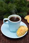 Cup of coffee and cookies madeleines and fir branches — Stockfoto