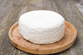 Fresh cottage cheese on a wooden plate — Stock Photo
