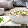 Chinese food - soup with chicken and shiitake — Stock Photo