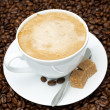Cup of cappuccino with brown sugar on coffee beans — Stock Photo