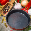 Empty frying pan, vegetables and spices on wooden background — Stock Photo #30819777