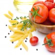 Fresh tomatoes, penne pasta, spaghetti and spices on white — Stock Photo #30819857