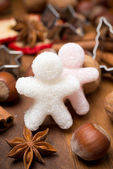 Ingredients for Christmas baking and sugar little men, close-up — Stock Photo