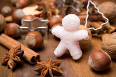 Ingredienti per la cottura di natale zucchero ometto — Foto Stock