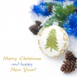 Christmas ball and tinsel isolated on white — Stock Photo #31141629