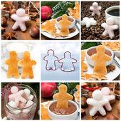 Collage av nio bilder med julen lite män — Stockfoto