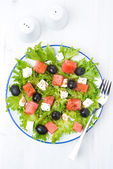 Fresh salad with watermelon, feta cheese and olives, vertical — Stock Photo