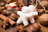 Ingredients for Christmas baking and sugar little men — Stock Photo