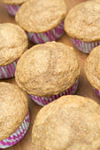 Muffins of whole-grain flour, selective focus — Stock Photo
