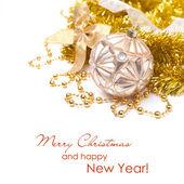 Composición de navidad en tonos dorados, aislado — Foto de Stock