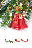 Christmas composition with fir branches red and bell, isolated — Stock Photo